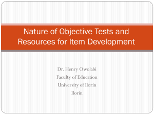 Nature of Objective Test Items and Resources