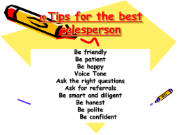 10 Tips for the best salesperson