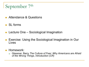 Lecture One: Sociological Imagination