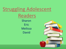Struggling Adolescent Readers Powerpoint