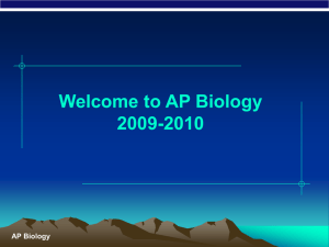 Introduction to AP Biology