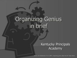 Great Groups/Organizing Genius PowerPoint