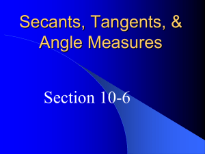10-6 Secants, Tangents, and Angle Measures