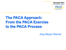 From the PACA Exercise to the PACA Process - PACA