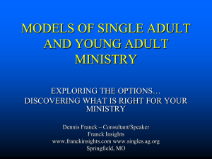 MODELS FOR SINGLE ADULT MINISTRY