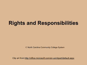 Lesson 11: Rights and Responsibilities - NC-NET