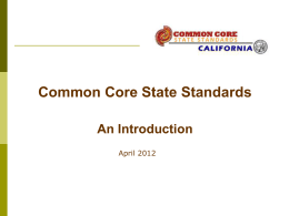 Common Core state Standards - Contra Costa County Office of