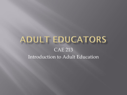 introduction to adult education Hvac i - introduction this is an introductory course where the student will learn the fundamentals of refrigeration, air conditioning, and heating.