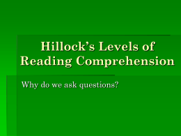 Hillock`s Levels of Reading Response