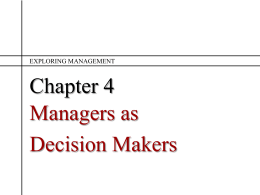 Ch 4 Managers as Decision Makers