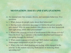MOTIVATION: ISSUES AND EXPLANATIONS