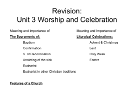 Revision: Unit 3 Worship and Celebration