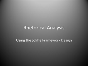 Joliffe`s Rhetorical Analysis