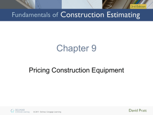 Chapter 9: Pricing Construction Equipment