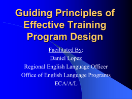 Guiding Principles of Effective Training Program Design