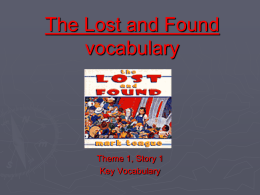 The Lost and Found vocabulary