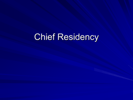 Chief Residency Skill Sets