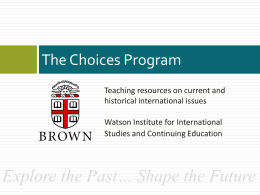 Workshop Powerpoint - The Choices Program