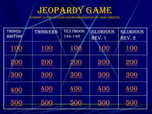 Glorious Revolution Jeopardy