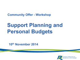 Support Planning and Personal Budgets – Service Users