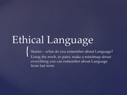 Ethical language - mrslh Philosophy & Ethics