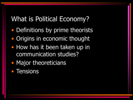 What is political economy anyway? Part 1
