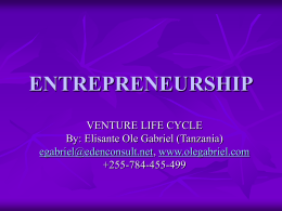 ENTREPRENEURSHIP - Venture Cycle