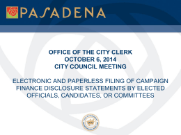 office of the city clerk october 6, 2014 city council
