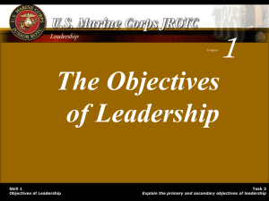 The Objectives of Leadership
