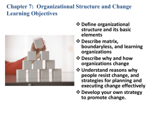 CHAPTER 7 - Organizational Structure and Change