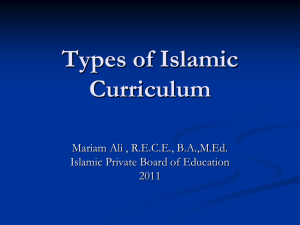 Types of Curriculum - Open Islamic Curriculum