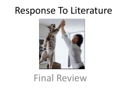 Response To Literature Final Review
