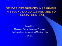 Gender Differences and Learning a Second Language