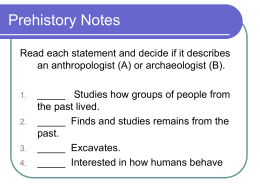 Prehistory Notes