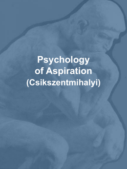 Psychology of Aspiration (Csikszentmihalyi)