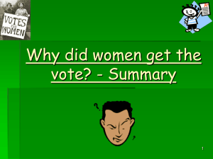 Why Did Women Get The Vote