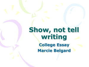 Show vs. Tell Writing by Marcie Belgard