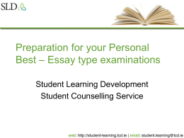 Essay type exams - Student Learning Development