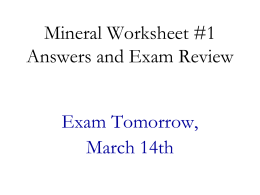 Mineral Worksheet 1a Review