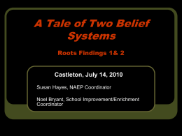 A Tale of Two Belief Systems Roots Findings 1& 2