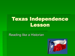 Texas Independence Lesson
