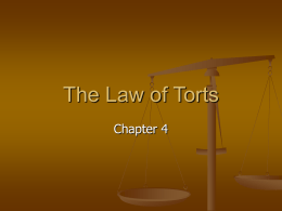 Chapter 4 The Law of Torts