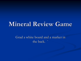 Mineral Review Game