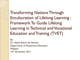 Transforming Nations Through Enculturation of Lifelong Learning
