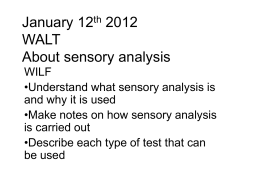 Sensory Analysis - original PowerPoint presentation