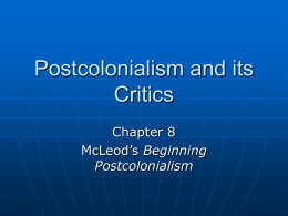 Postcolonialism and its Critics