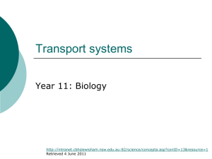 Transport system in plants 1st in series