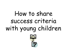 How to share success criteria with young children