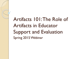 Evidence 101: The Role of Artifacts in Educator Evaluation