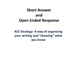 ACE Response to Open Ended and Short Answer